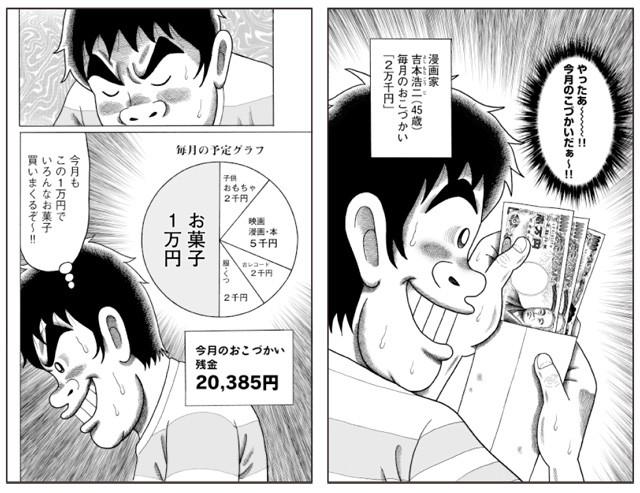 吉本家では、毎月1日に今月の小遣いがもらえる。悩みに悩み、選び抜いたお菓子を幸せそうに頬張る吉本さんのシーンは必見! ?吉本浩二/講談社