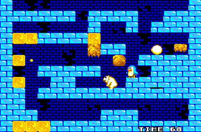 『penguinland』(セガ・マスターシステム 1987年発売)。日本では『どきどきペンギンランド 宇宙大冒険』のタイトルで知られる、卵を下へ下へと運ぶアクションパズルゲーム。当時の家庭用ゲームソフトとしては画期的なステージ作成機能を搭載。2人は子供の頃、このゲームを夢中で遊ぶことでゲーム作りを学んだ。(C)SEGA