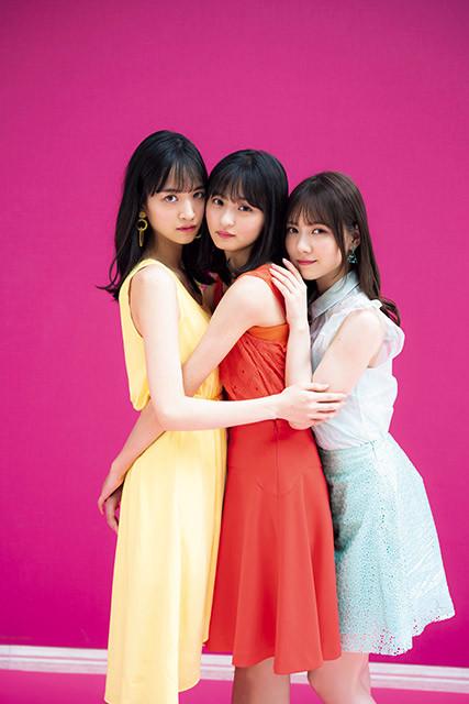 『週刊プレイボーイ』のグラビアに登場した乃木坂46の(左から)金川紗耶、遠藤さくら、田村真佑