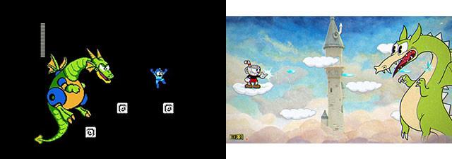 (左)『ロックマン2 Dr.ワイリーの謎』(1988年発売)に登場するメカドラゴン。(C)CAPCOM CO.,LTD.ALL RIGHTS RESERVED.(右)影響を受けたというボス、グリム・マッチスティック。そっくり! (C)CAPCOM CO.,LTD.ALL RIGHTS RESERVED.