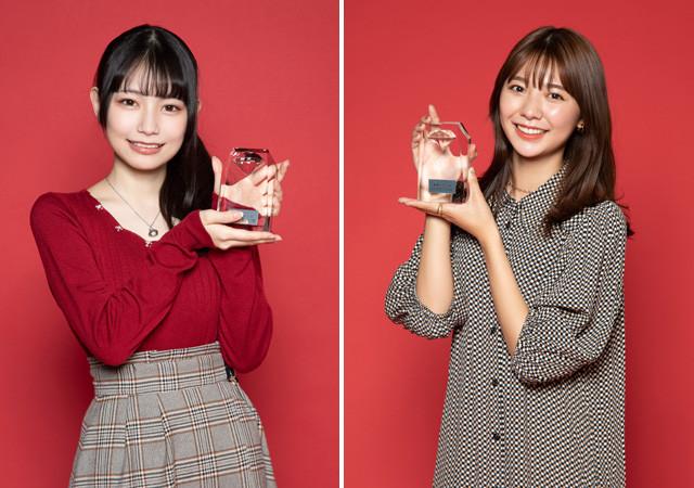 「グラジャパ! アワード2020」で最優秀新人賞を受賞したあかせあかり(左)と川津明日香
