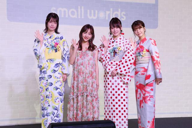 「スモールワールズTOKYO」の1周年記念イベントに登場した、(左から)小田えりな、板野友美、岡部麟、清水麻璃亜