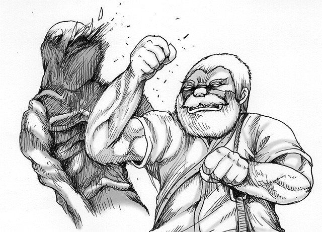 押切先生のイチ推しキャラだというジョー・ベイカーを描き下ろしていただいた。ジョー・ベイカーは、『バイオ7』のDLC(ダウンロードコンテンツ)で登場するキャラクター。「化け物を素手で殴るのが素晴らしい」とのこと