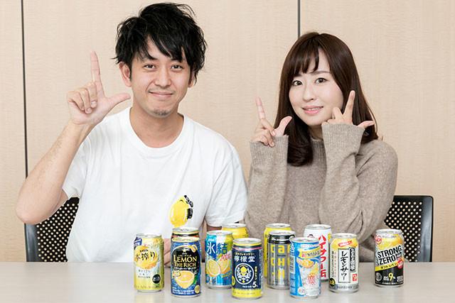 レモンサワー専門家のレモンザムライさん(左)とお酒大好きグラドルの水樹たまちゃんが、本当においしいレモンサワーを探します!