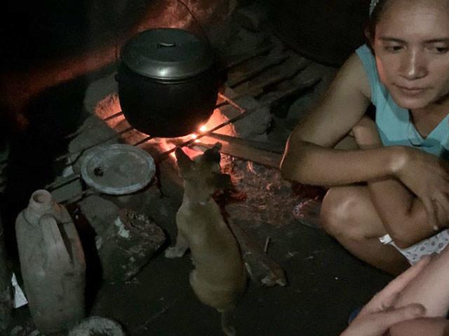 子犬のギギが炊飯を見張っている