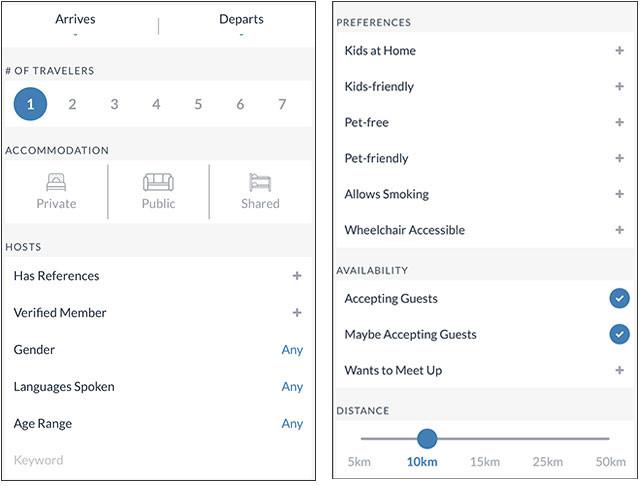 「Couchsurfing(カウチサーフィン)」スマホアプリの検索画面。(左)泊まる側の人数や借りたい寝床のスタイルまで設定できる。(右)さらに細かく、子供やペットの有無、喫煙禁煙などもフィルターをかけられる