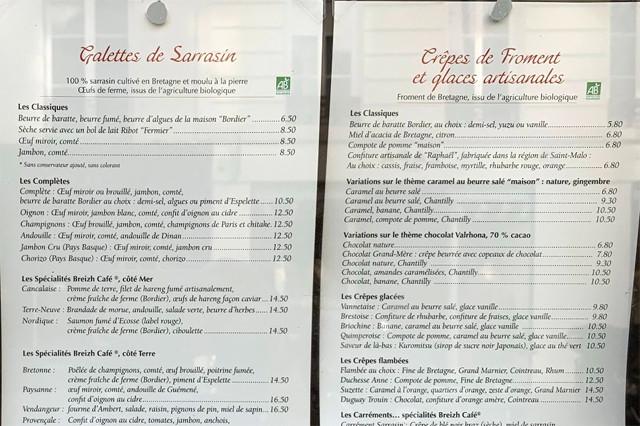 「Breizh Cafe」のメニュー。注文したのは右一番上の5.8ユーロのもの。「Crepes」って書いてた!