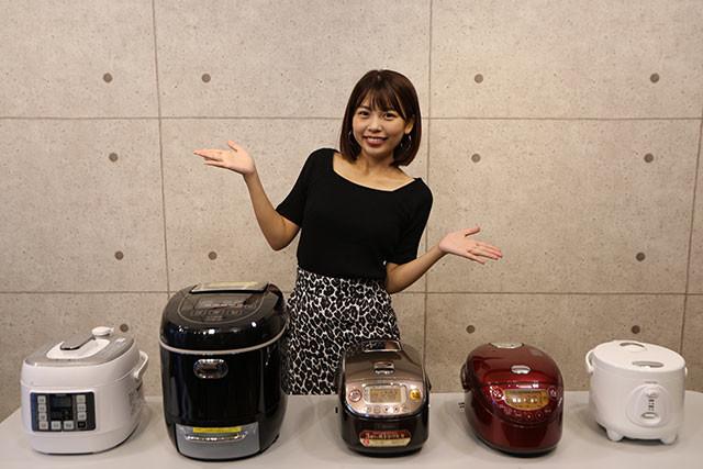 左から2番目の糖質カット炊飯器だけが異様にデカいのは、これだけ「6合炊き」サイズなのと、独自の炊飯方式で大量の水を入れる必要があるから。ほかは3〜3.5合炊きクラス