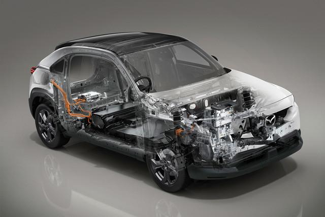 MX‐30EVモデルの主な注目点(1)35.5kWhのリチウムイオンバッテリーを搭載。バッテリーは35.5kWhと車格的には小容量だが、マツダいわく、「製造・走行・廃車までのトータルのCO2の排出量削減が重要。それゆえ地球環境を踏まえると、この電力量が最適解」とのこと