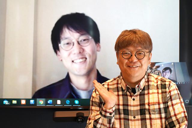 角田陽一郎氏(手前)が経済思想家・斎藤幸平氏とオンライン対談!