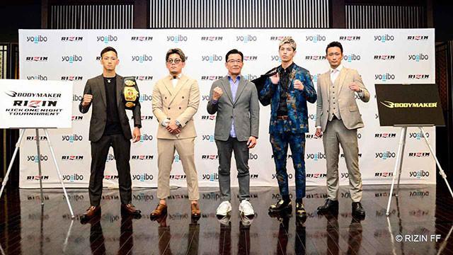 ワンナイトキックトーナメントの出場4選手と(左から髙橋、皇治、榊原社長、白鳥、梅野)