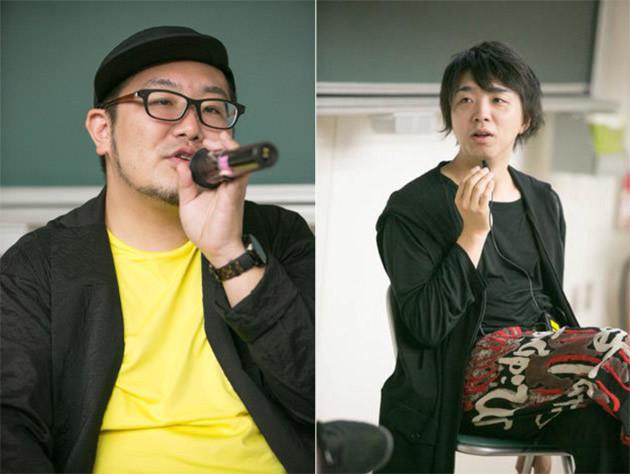 筑波大学で講義をする落合陽一(右)とPR/クリエイティブディレクターの三浦崇宏(左)