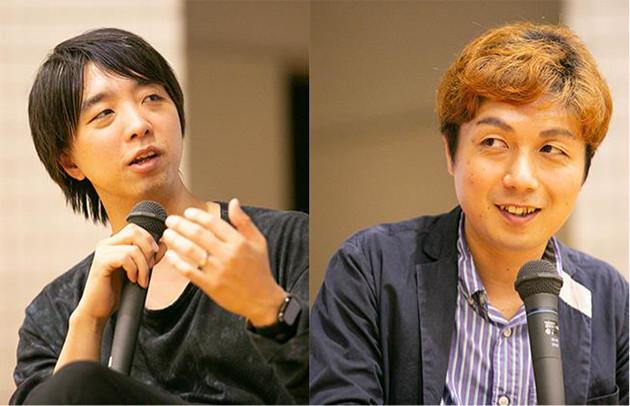 筑波大学で講義をする落合陽一(左)とケンモチヒデフミ