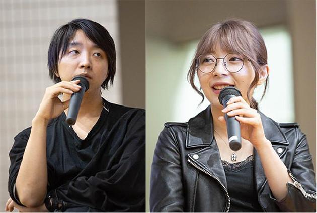 筑波大学で講義をする落合陽一(左)と辻 愛沙子(右)