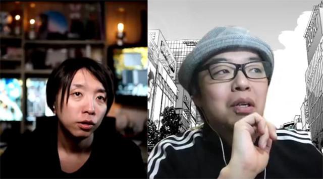 「現代の魔法使い」落合陽一(左)と、漫画家ユニット「うめ」の小沢高広(右)